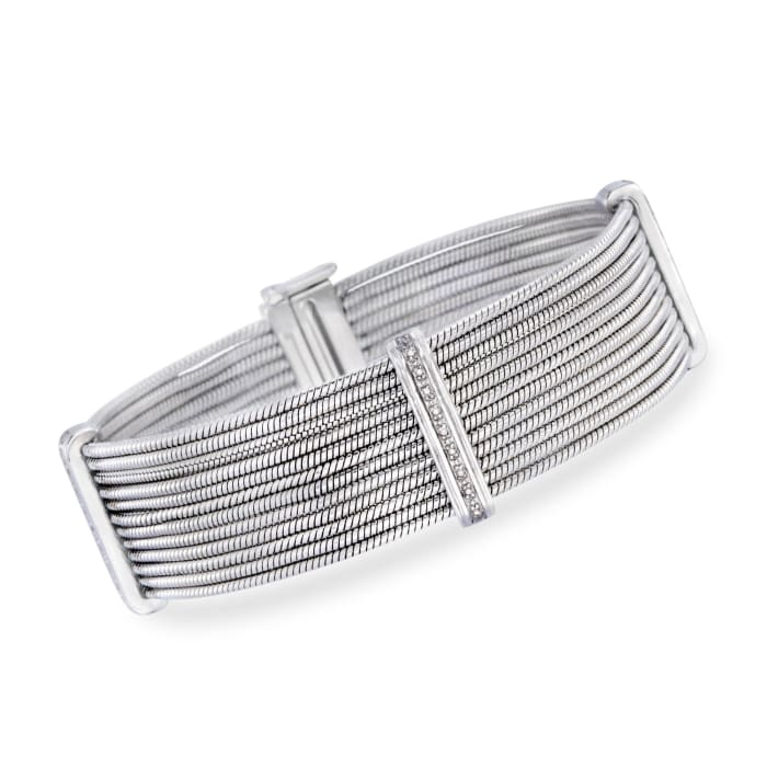 Stainless Steel and Sterling Silver Multi-Row Cable Bracelet with Diamond Accents