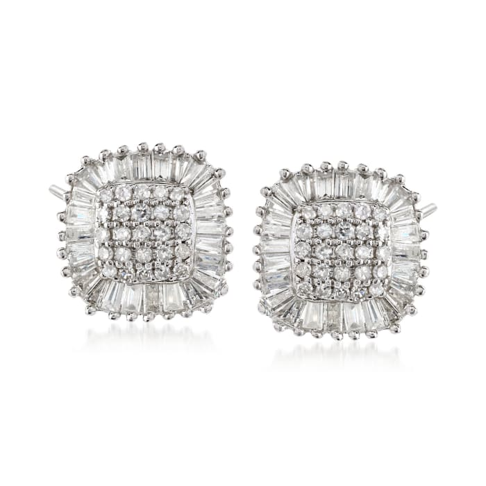 1.00 ct. t.w. Diamond Square Cluster Stud Earrings in 14kt White Gold