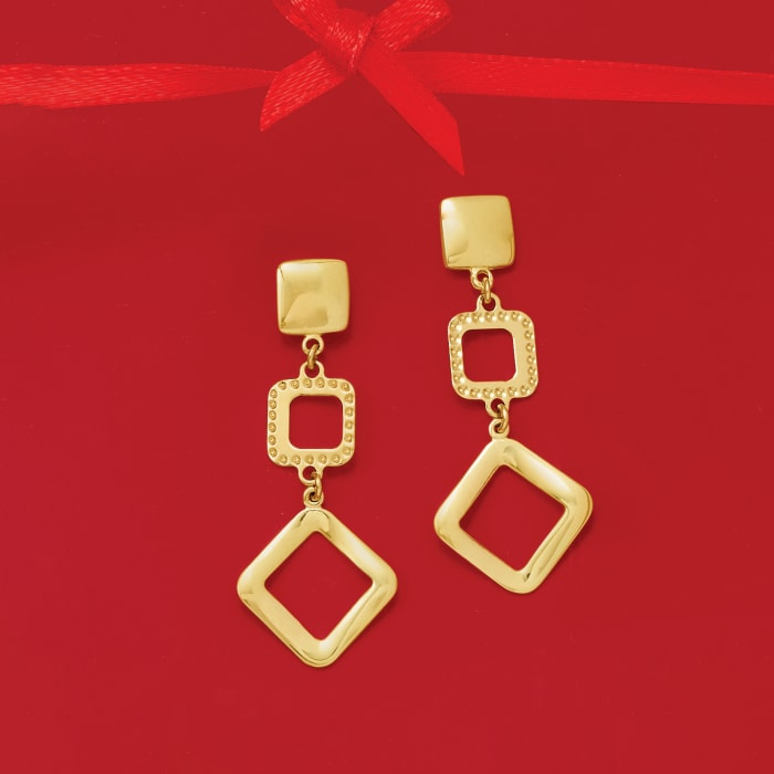 Italian 14kt Yellow Gold Multi-Square Drop Earrings
