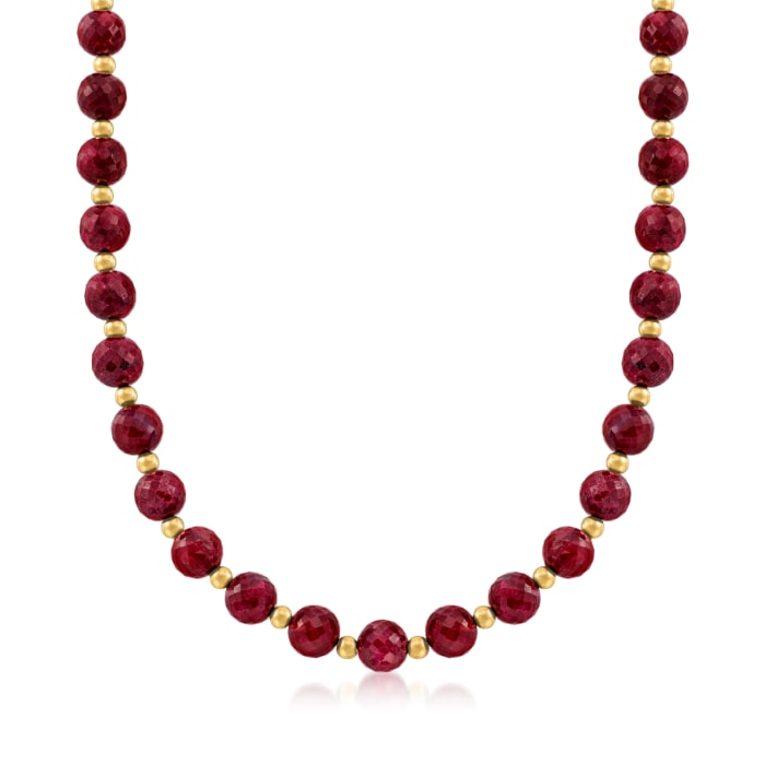 215.00 ct. t.w. Ruby Bead Necklace with 14kt Yellow Gold
