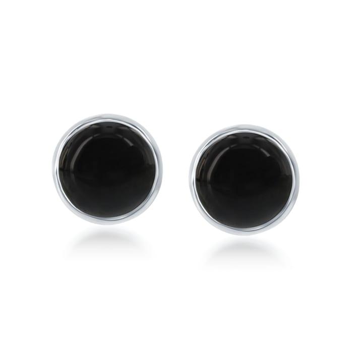 Bezel-Set Black Onyx Earrings in Sterling Silver