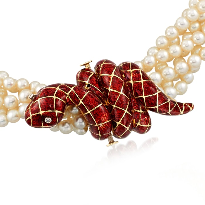 C. 1990 Vintage 4mm Cultured Pearl and Red Enamel Snake Torsade Necklace in 18kt Yellow Gold