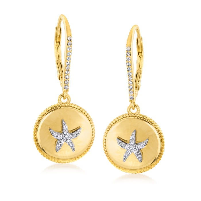 .30 ct. t.w. White Topaz Starfish Drop Earrings in 18kt Gold Over Sterling