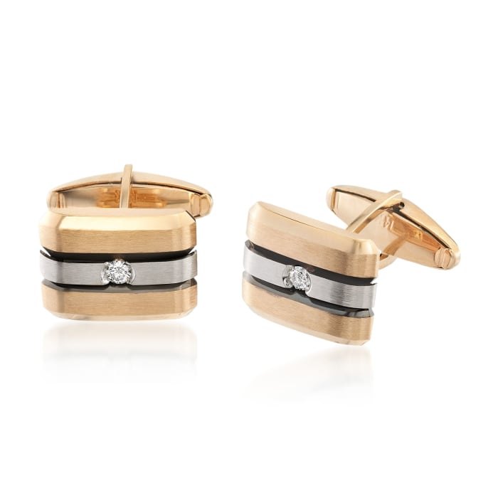 .20 ct. t.w. Diamond Cuff Links in 14kt Two-Tone Gold