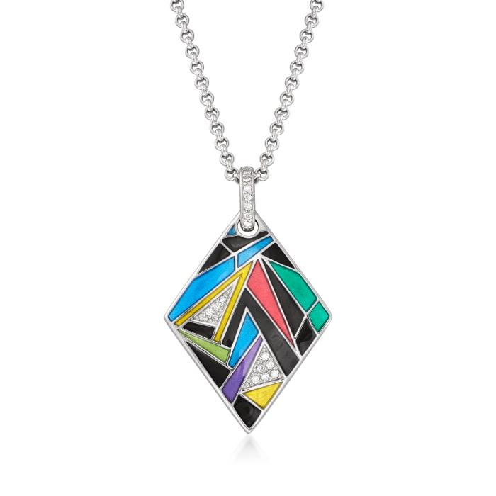 "Belle Etoile ""Chromatica"" Multicolored Enamel and .19 ct. t.w. CZ Pendant in Sterling Silver"