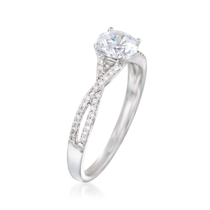 .14 ct. t.w. Diamond Twisted Engagement Ring Setting in 14kt White Gold
