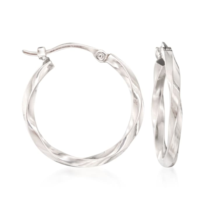 14kt White Gold Twist-Motif Hoop Earrings