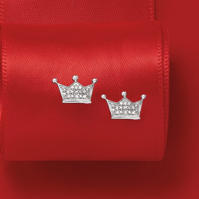 Diamond-Accented Crown Earrings in 14kt White Gold