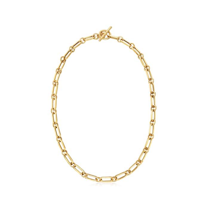 Italian 18kt Gold Over Sterling Paper Clip Link Necklace