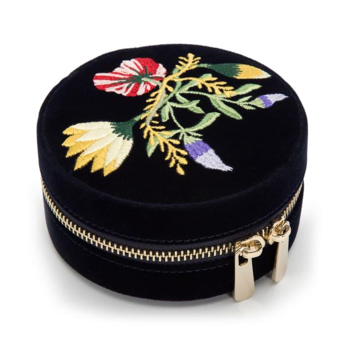 "Wolf ""Zoe"" Indigo Velvet Floral Round Jewelry Travel Case"