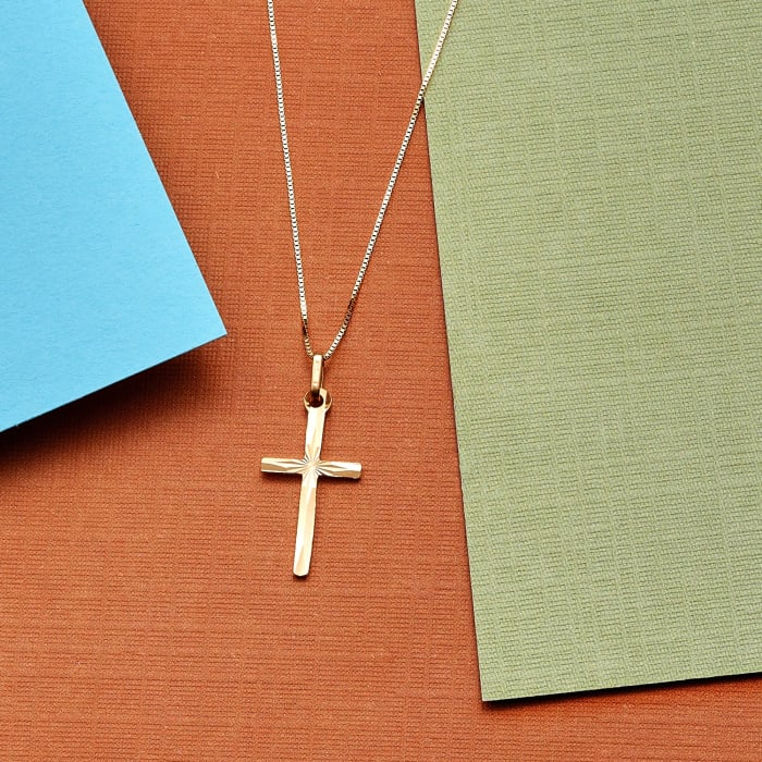 Italian 18kt Yellow Gold Diamond-Cut Cross Pendant Necklace
