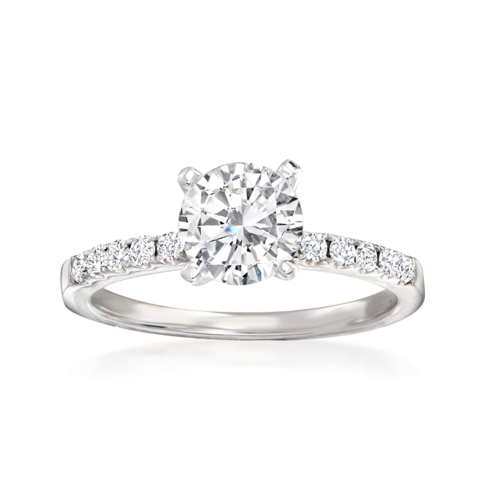 .22 ct. t.w. Pave Diamond Engagement Ring Setting in 14kt White Gold