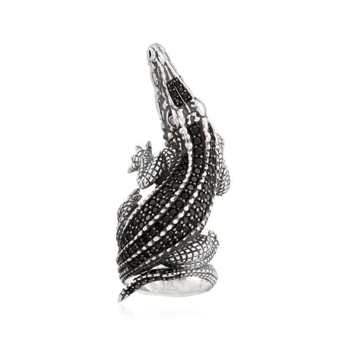 1.40 ct. t.w. Black Spinel Alligator Ring in Sterling Silver with Pink CZ Accents