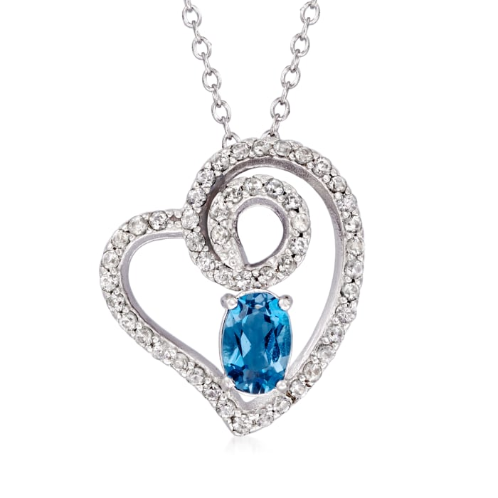 1.00 ct. t.w. London Blue and White Topaz Heart Pendant Necklace in Sterling Silver