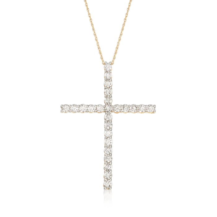 2.00 ct. t.w. Diamond Cross Pendant Necklace in 14kt Yellow Gold