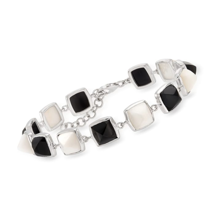Black Onyx and White Agate Bracelet in Sterling Silver