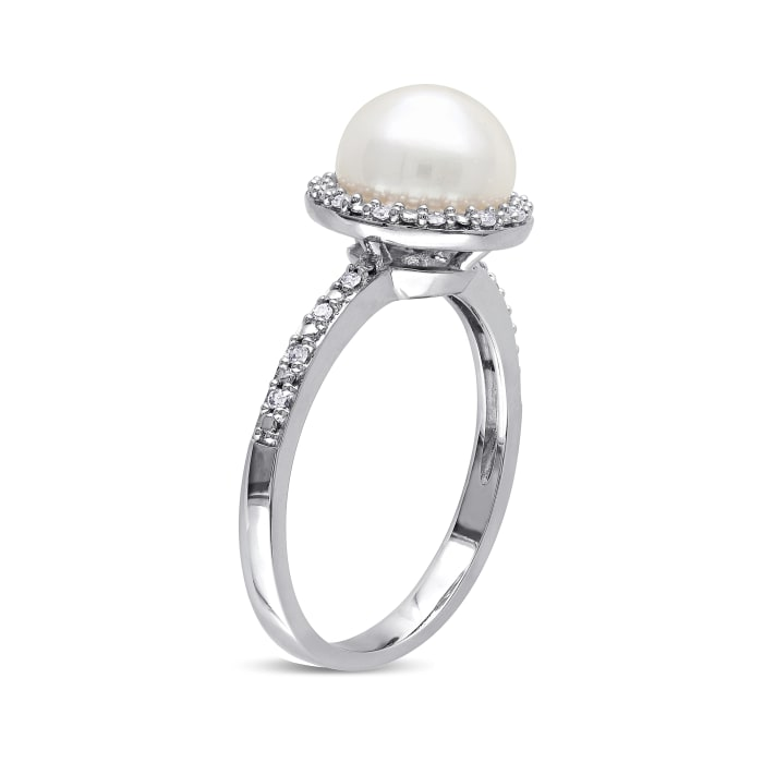 8-8.5mm Cultured Button Pearl Ring with Diamond Accents in Sterling Silver