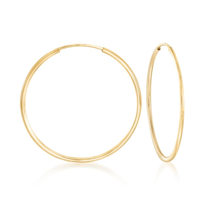 1.25mm 14kt Yellow Gold Endless Hoop Earrings