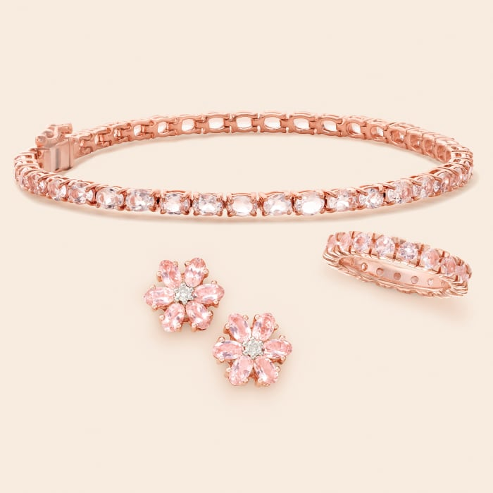 1.80 ct. t.w. Morganite Eternity Band in 18kt Rose Gold Over Sterling