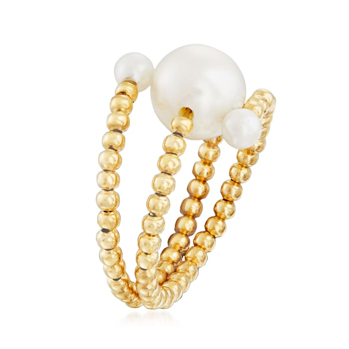 3-8.5mm Cultured Pearl Wrap Ring in 14kt Yellow Gold