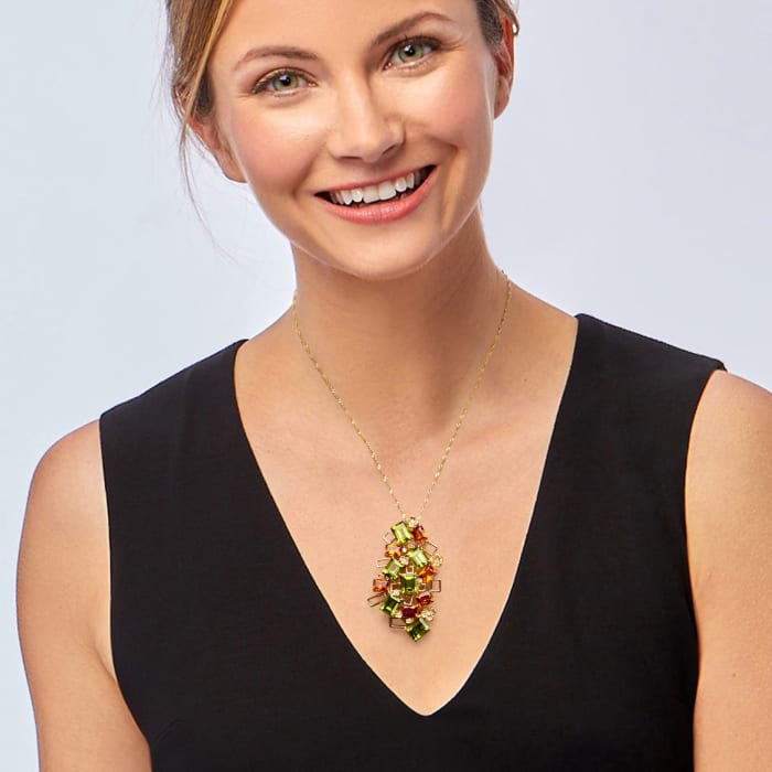 C. 1980 Vintage 25.15 ct. t.w. Peridot and 12.10 ct. t.w. Orange Garnet Floral Cluster Pendant with Diamonds in 18kt Gold