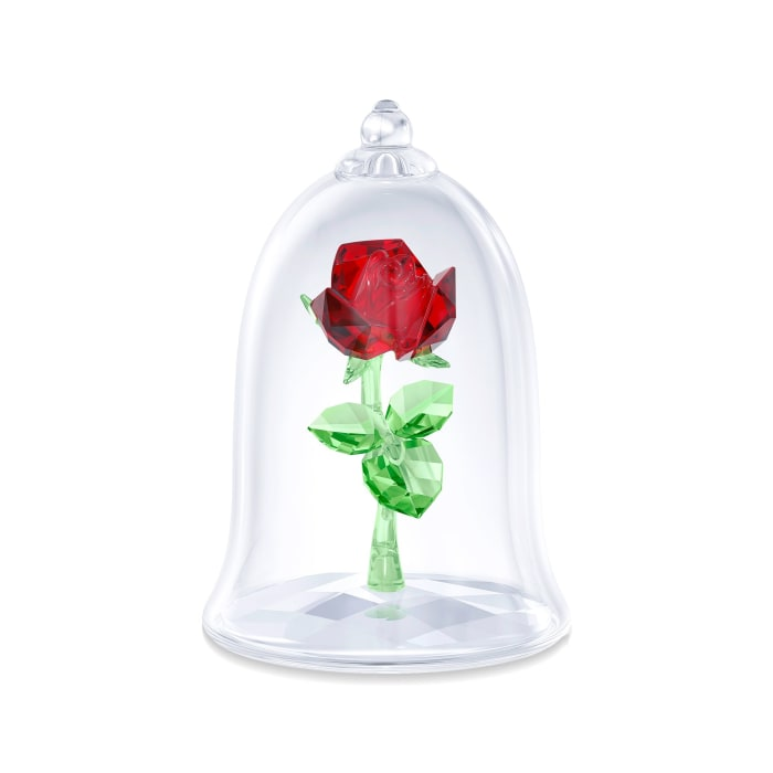 "Swarovski Crystal ""Disney's Enchanted Rose"" Red and Green Crystal Figurine"