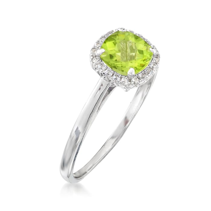 1.00 Carat Peridot and .10 ct. t.w. White Topaz Ring Sterling Silver