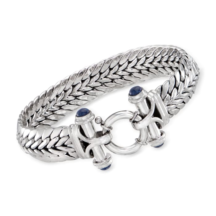 Sterling Silver Wheat-Link Bracelet with Lapis