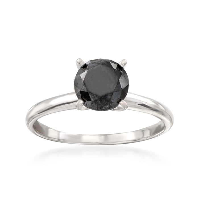 1.00 Carat Black Diamond Solitaire Ring in 14kt White Gold