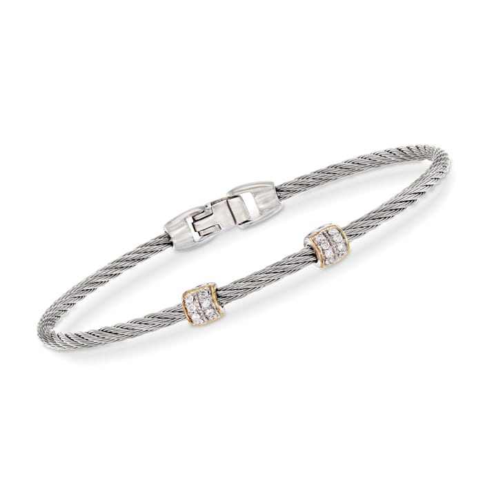 """ALOR """"Classique"""" .13 ct. t.w. Diamond Gray Stainless Steel Cable Bracelet with 18kt Yellow and White Gold"""