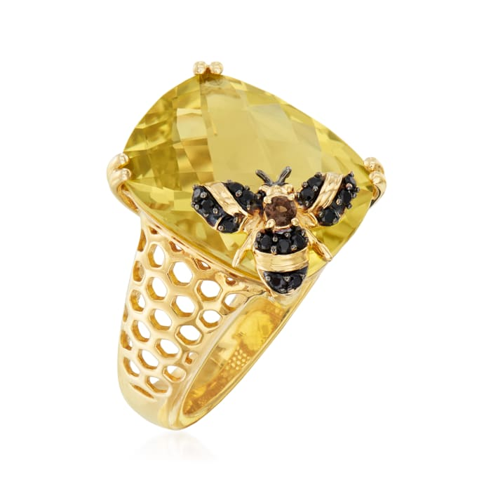 8.75 Carat Lemon Quartz Bee Ring with Multi-Gemstone Accents in 18kt Gold Over Sterling