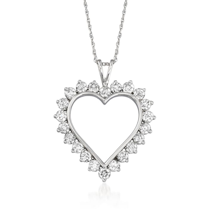 2.00 ct. t.w. Diamond Open-Space Heart Pendant Necklace in 14kt White Gold
