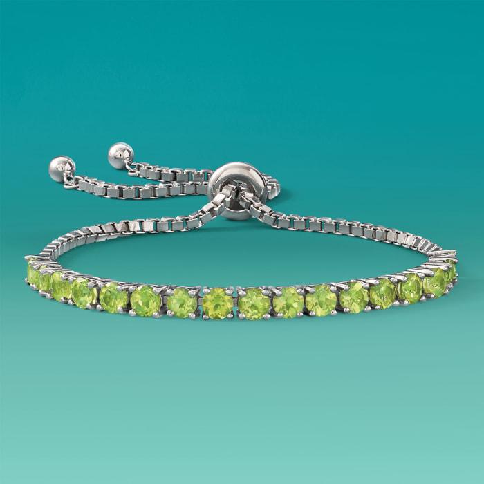 5.00 ct. t.w. Peridot Bolo Bracelet in Sterling Silver