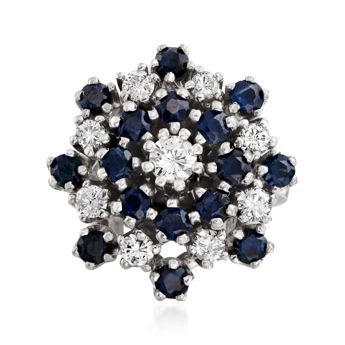 C. 1970 Vintage 1.60 ct. t.w. Sapphire and .90 ct. t.w. Diamond Cluster Ring in 14kt White Gold