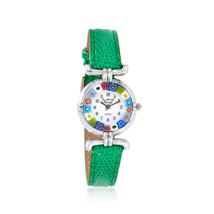 Italian Woman's Floral Multicolored Murano Glass 26mm Watch with Green Leather