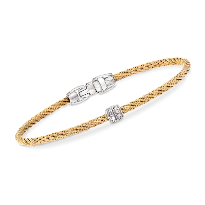 """ALOR """"Classique"""" Yellow Stainless Steel Cable Bracelet with Diamond Accents"""