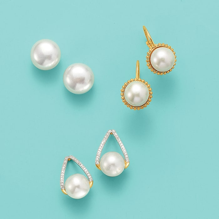10-11mm Cultured Pearl Earrings in 14kt Yellow Gold