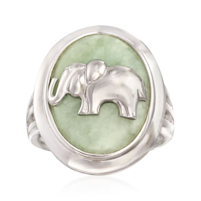 Jade Elephant Ring in Sterling Silver