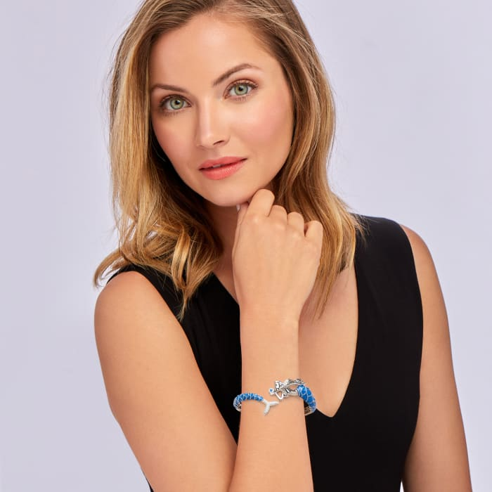 .50 ct. t.w. White Topaz and .10 ct. t.w. Simulated Sapphire Mermaid Bangle Bracelet with Blue Enamel in Sterling Silver