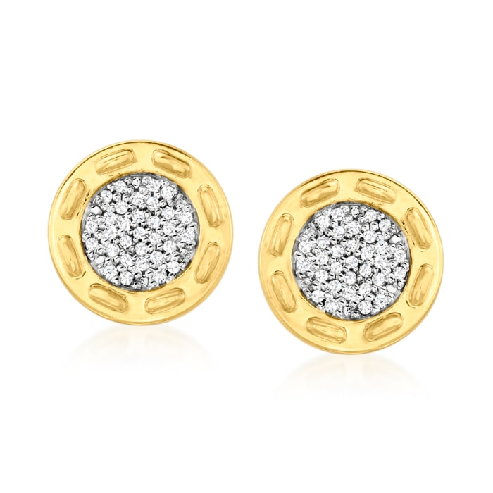 .11 ct. t.w. Diamond Circle Stud Earrings in 18kt Gold Over Sterling