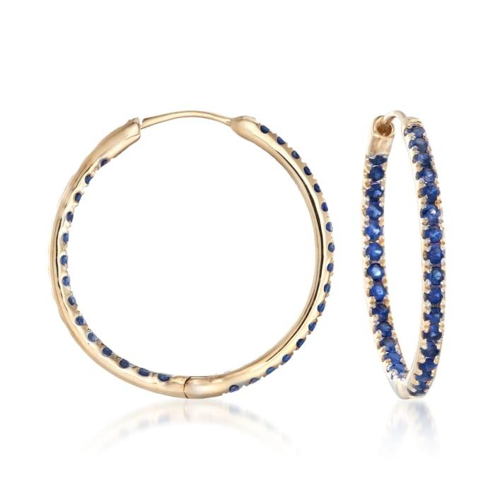 1.20 ct. t.w. Sapphire Inside-Outside Hoop Earrings in 14kt Yellow Gold