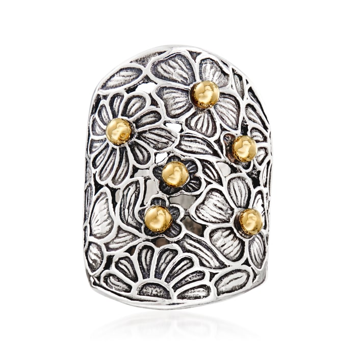 Sterling Silver and 14kt Yellow Gold Floral Ring