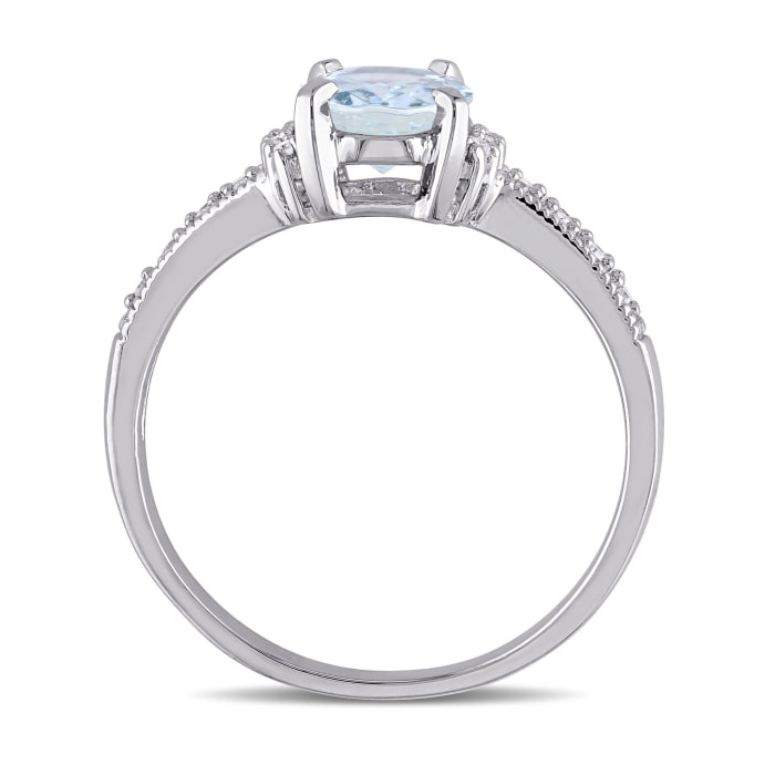 1.00 Carat Aquamarine Ring with Diamond Accents in Sterling Silver
