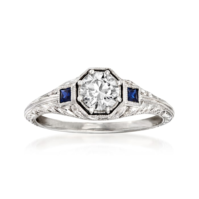 .56 Carat Diamond and .13 ct. t.w. Sapphire Engagement Ring in 14kt White Gold