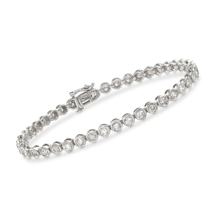 3.00 ct. t.w. Bezel-Set Diamond Tennis Bracelet in 14kt White Gold