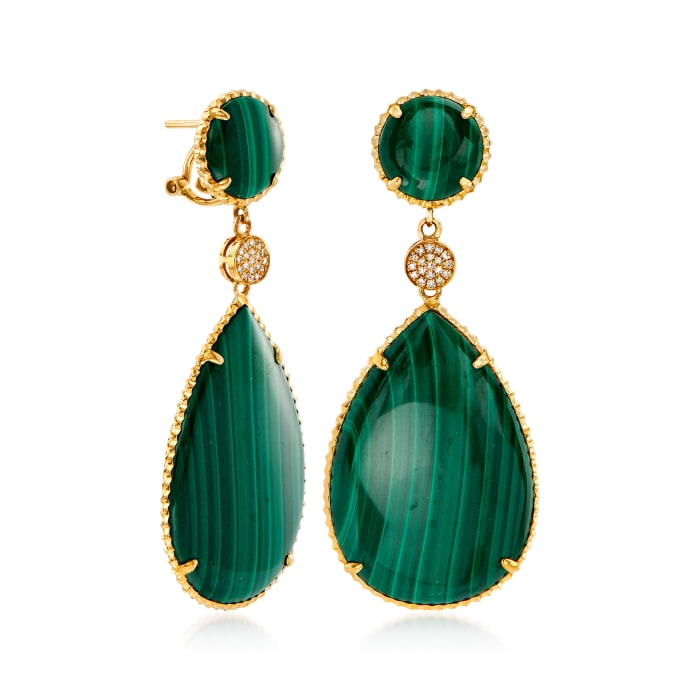 Malachite and .11 ct. t.w. Diamond Drop Earrings in 14kt Yellow Gold