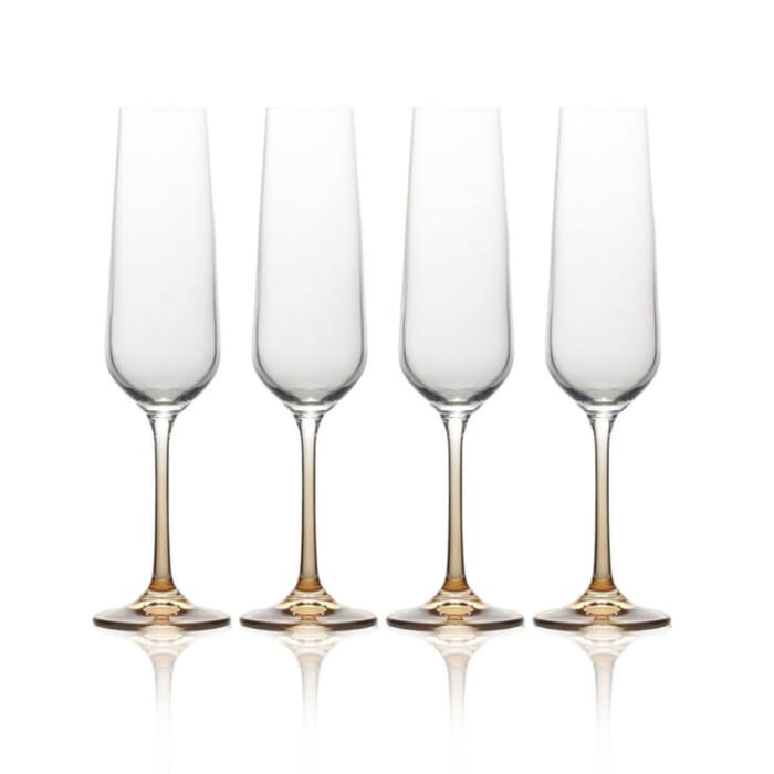 """Mikasa """"Gianna"""" Set of 4 Ombre Amber Champagne Flutes"""