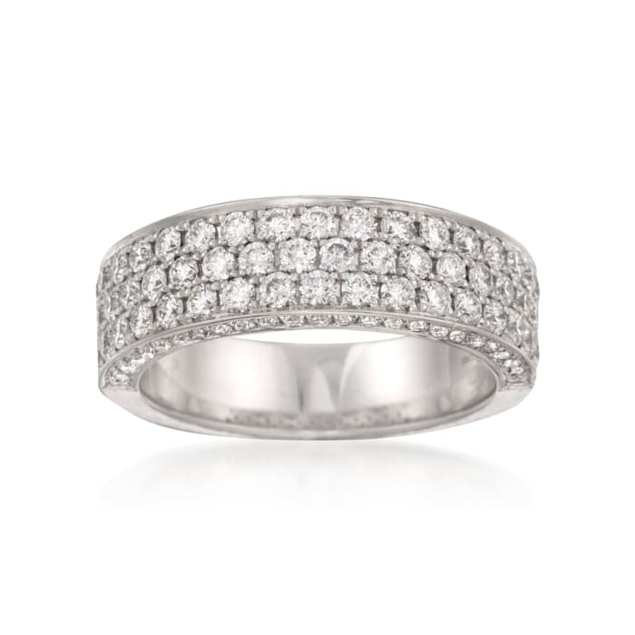 Henri Daussi 1.40 ct. t.w. Diamond Wedding Ring with Pave Sides in 14kt White Gold