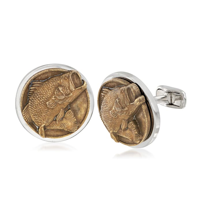 Men's Bass Fish Coin Cuff Links