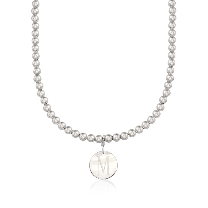 Italian 6mm Sterling Silver Bead Necklace with Personalized Disc Charm